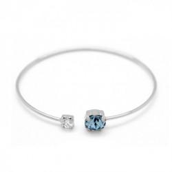 Pulsera caña círculos aquamarine de Celine en plata