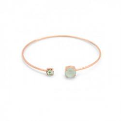 Pulsera caña círculos powder green de Celine en oro rosa