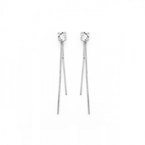 Silver Earrings Minimal double bar