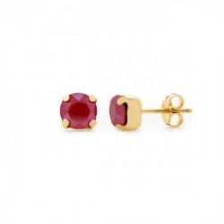 Pendientes redondos royal red de Celine Basic en oro