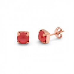 Pendientes redondos light coral de Celine Basic en oro rosa
