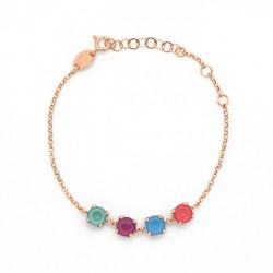 Pulsera Celine 4 cristales oro rosa