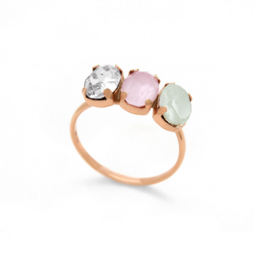 Pink Gold Ring Celine three ovals