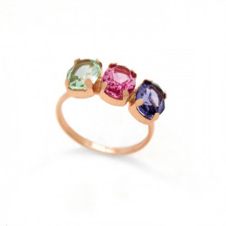 Pink Gold Ring Celine three oval