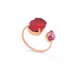 Anillo abierto oval royal red de Celine en oro rosa