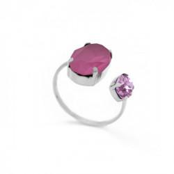 Anillo abierto oval peony pink de Celine en plata