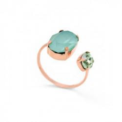 Anillo abierto oval green mint de Celine en oro rosa