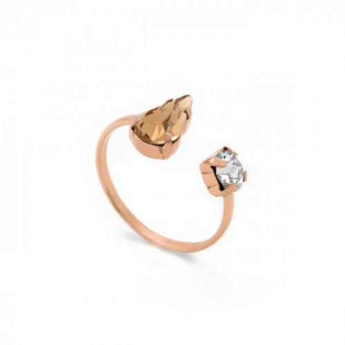 Pink Gold Ring Celine 2 Drops