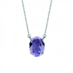 Silver Necklace Celine oval big