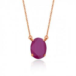Collar oval peony pink de Celine en oro rosa