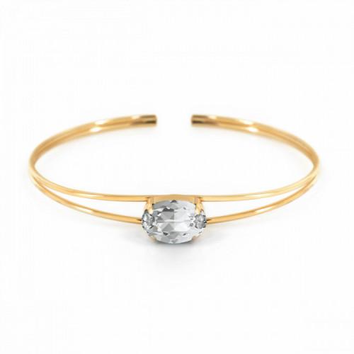 Gold Celine Oval Bangle Crystal
