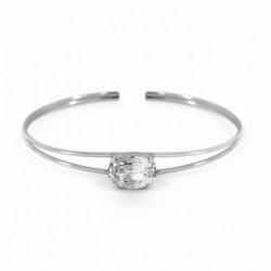 Pulsera caña oval crystal de Celine en plata