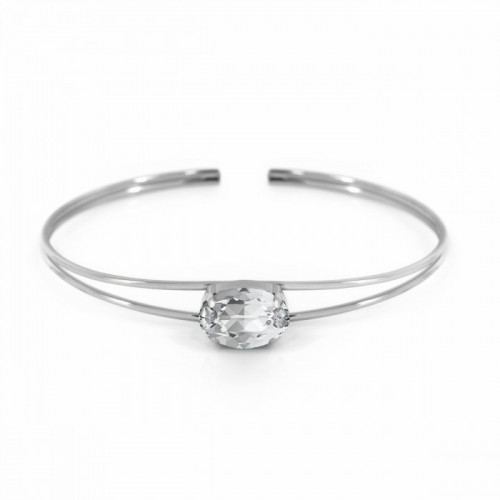 Silver Celine Oval Bangle Crystal