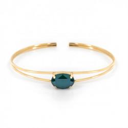 Pulsera caña oval royal green de Celine en oro