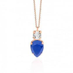 Collar lágrima royal blue de Celine en oro rosa