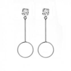 Pendientes redondos crystal de Minimal en plata
