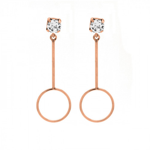 Pink Gold Earrings Minimal circle