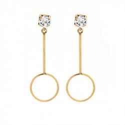 Pendientes redondos crystal de Minimal en oro