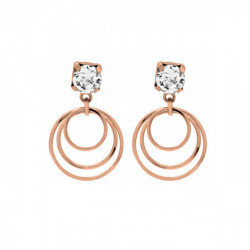 Pink Gold Earrings Minimal three crystals