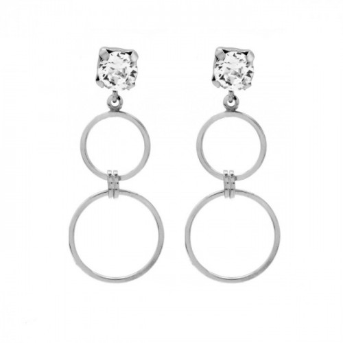 Silver Earrings Minimal double circles