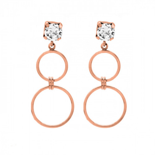 Pink Gold Earrings Minimal double circles