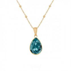 Collar lágrima light turquoise de Essential en oro