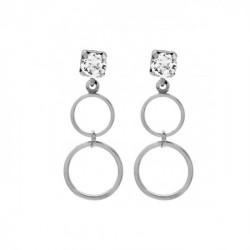 Silver Earrings Minimal double circle