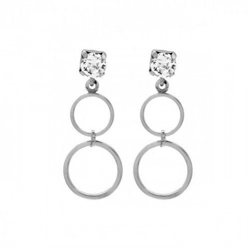 Silver Earrings Minimal double circle