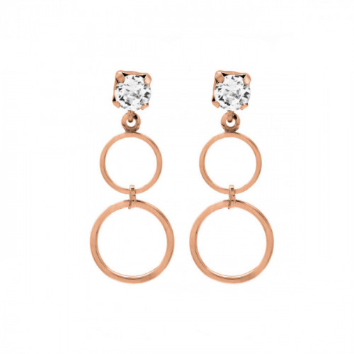 Pink Gold Earrings Minimal double circle