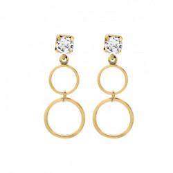 Gold Earrings Minimal double circle