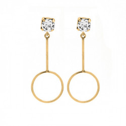 Gold Earrings Minimal bar and circle