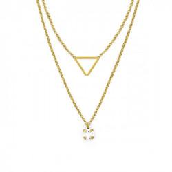 Collar doble triángulo crystal de Layering en oro