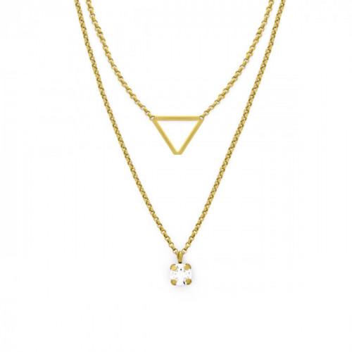 Collar doble Triángulo y Crystal en dorado