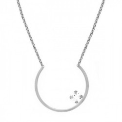 Collar semicírculo crystal de Layering en plata