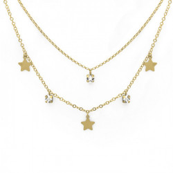 Collar doble estrellas crystal de Layering en oro