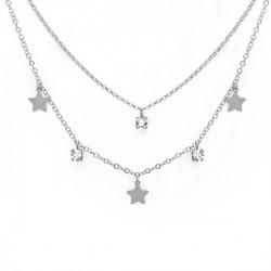 Collar doble estrellas crystal de Layering en plata