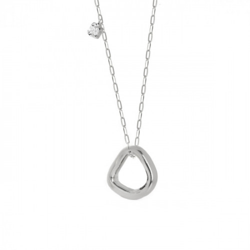 Silver Abstract Necklace Crystal