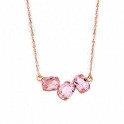 Collar Celine tres ovales oro rosa