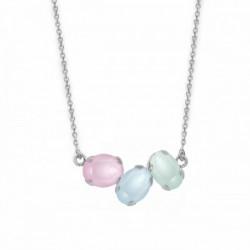 Collar oval multicolor de Celine en plata