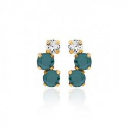 Pendientes redondos royal green de Celine en oro