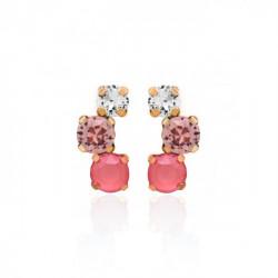 Pendientes redondos light coral de Celine en oro rosa