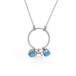 Collar círculo summer blue de Aura en plata