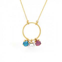 Collar círculo perla peony pink de Aura en oro