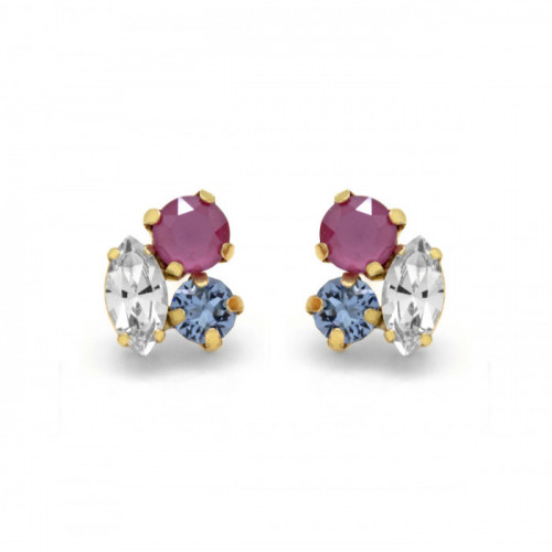 Gold Earrings Celine 3 crystals