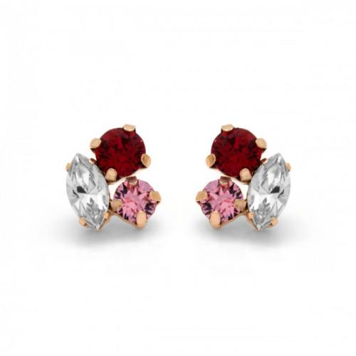 Pink Gold Earrings Celine 3 crystals