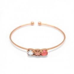 Pulsera caña círculos light coral de Aura en oro rosa