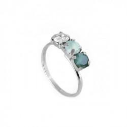 Silver Ring Celine three minis Royal Green