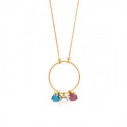 Collar redondo perla peony pink de Celine en oro