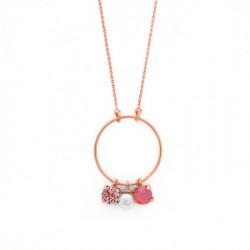 Collar redondo perla light coral de Celine en oro rosa
