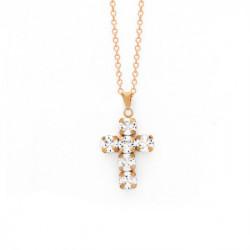 Collar cruz crystal de Minimal en oro rosa